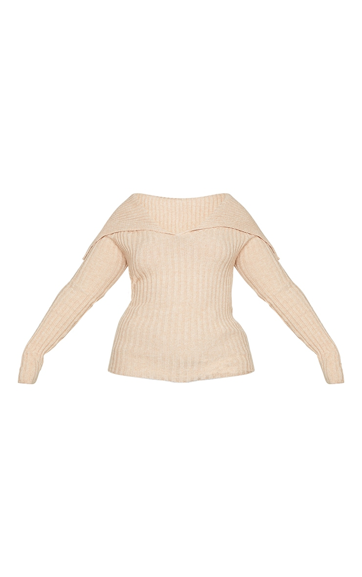 Plus StoneOff Shoulder Collar Detail Ribbed Jumper 6