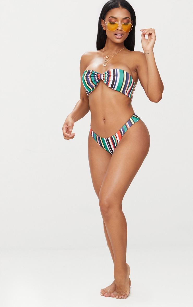Green Multi Stripe Bow Bikini Set 3