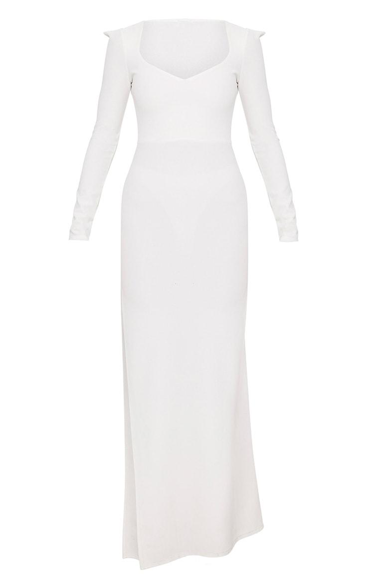 White Pointed Shoulder Extreme Split Maxi Dress 3