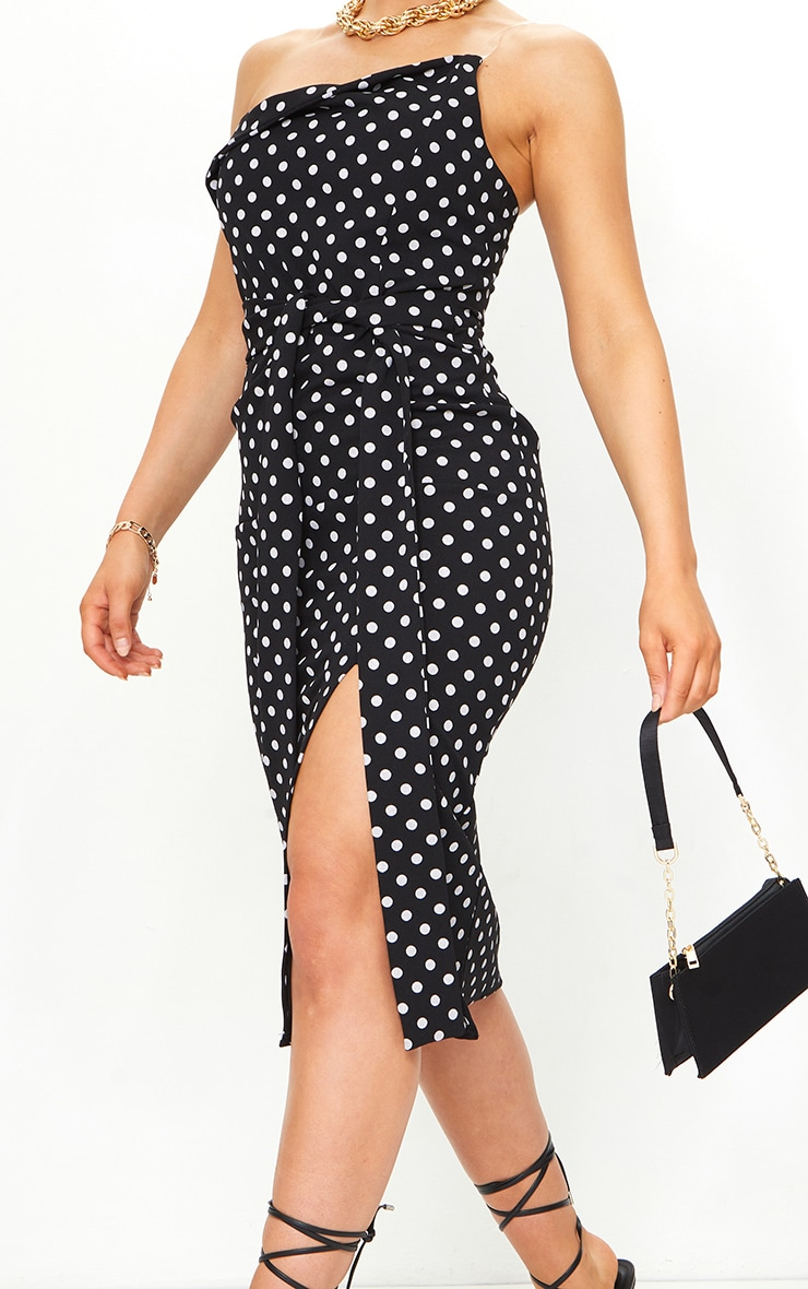 Black Polka Dot Clear Strap Wrap Tie Waist Midi Dress 4