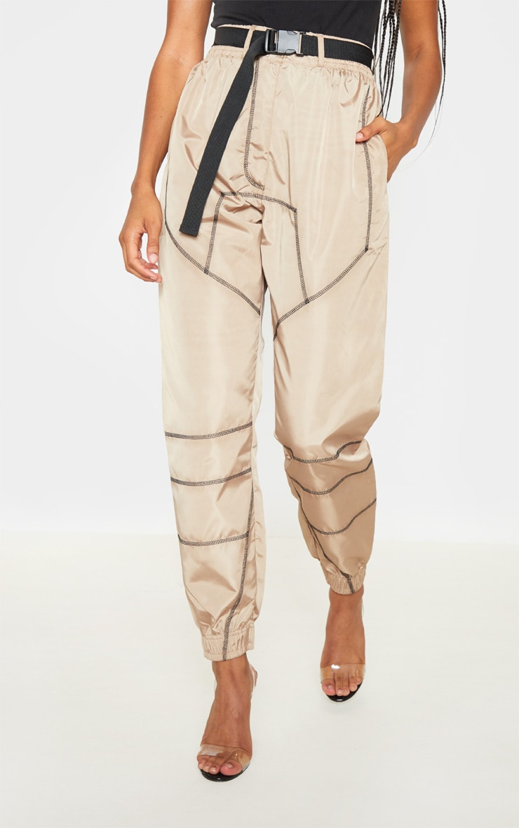 Stone Contrast Stitch Belted Shell Jogger 2