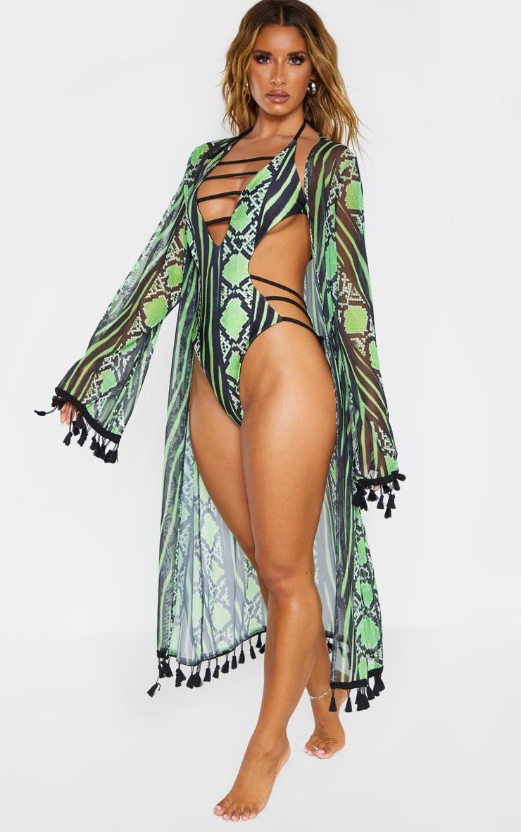 Lime Snake Print Mesh Tassel Kimono 5