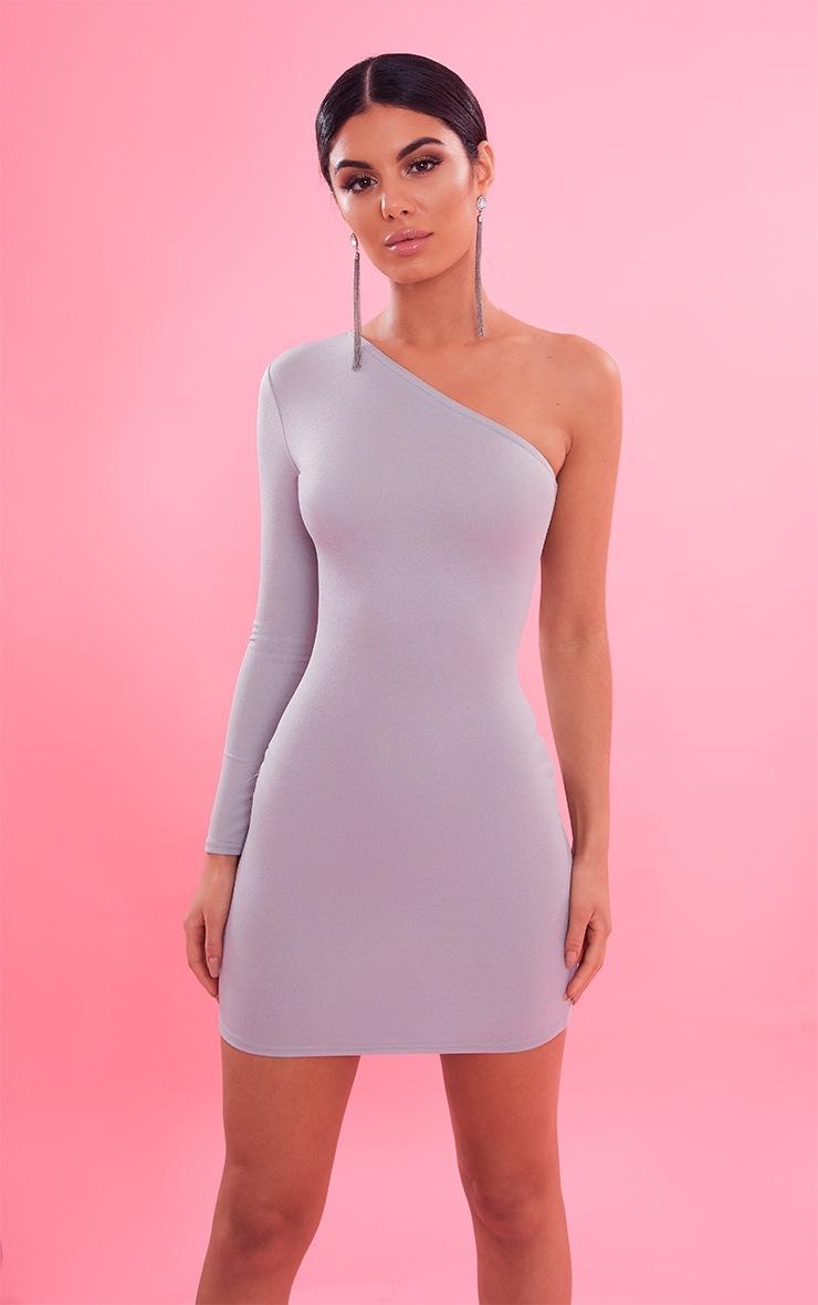 Dove Grey Crepe One Sleeve Bodycon Dress 2
