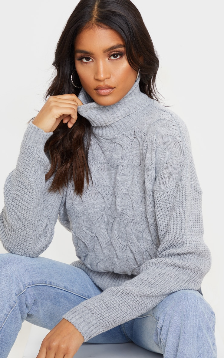 Light Grey Roll Neck Twisted Cable Front Jumper 5