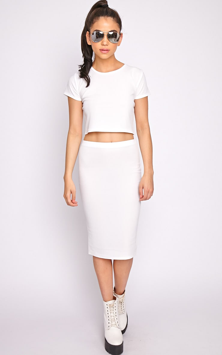 Alexa White Textured Midi Skirt -S/M 1
