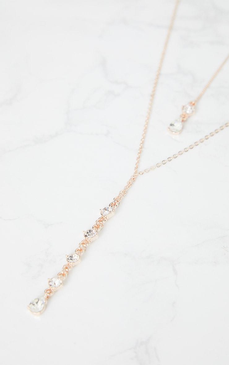 Rose Gold Drop Diamante Necklace 5