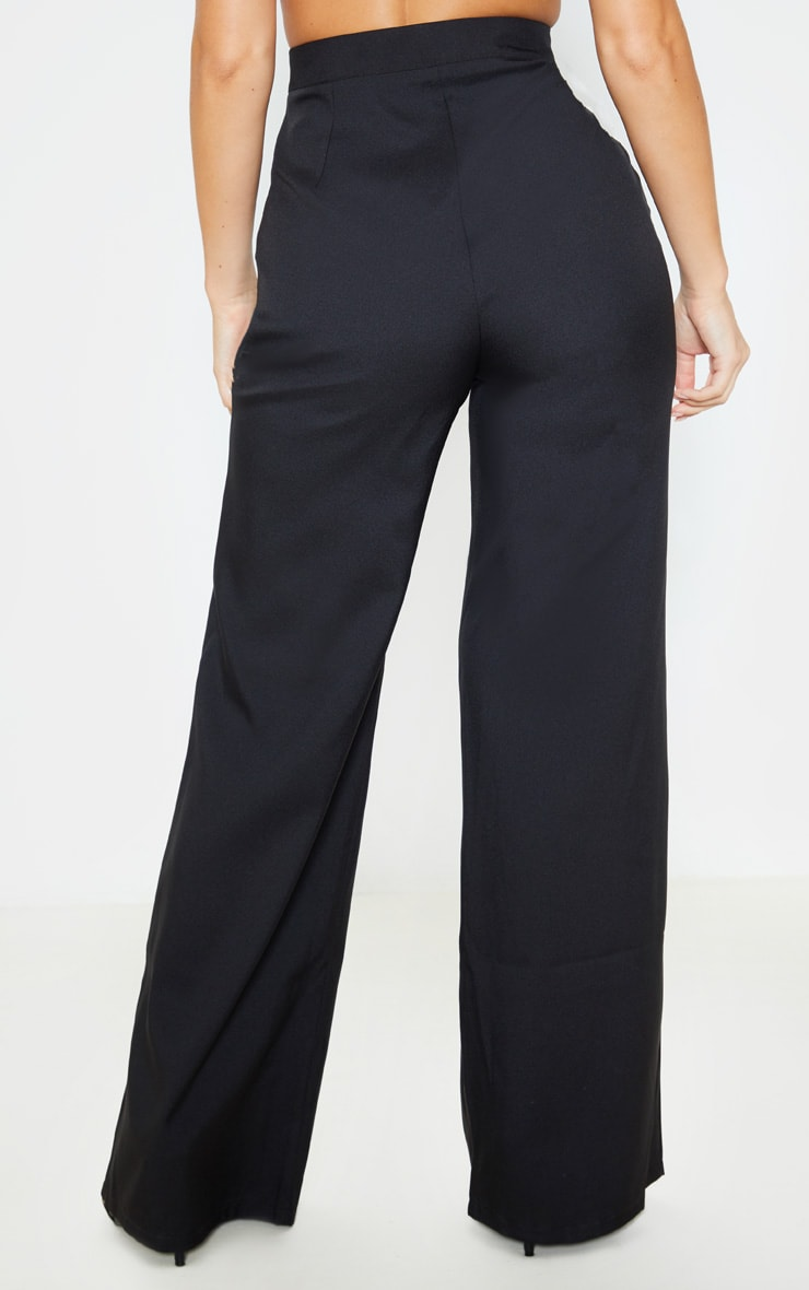 Black High Waisted Wide Leg Suit Trouser 4