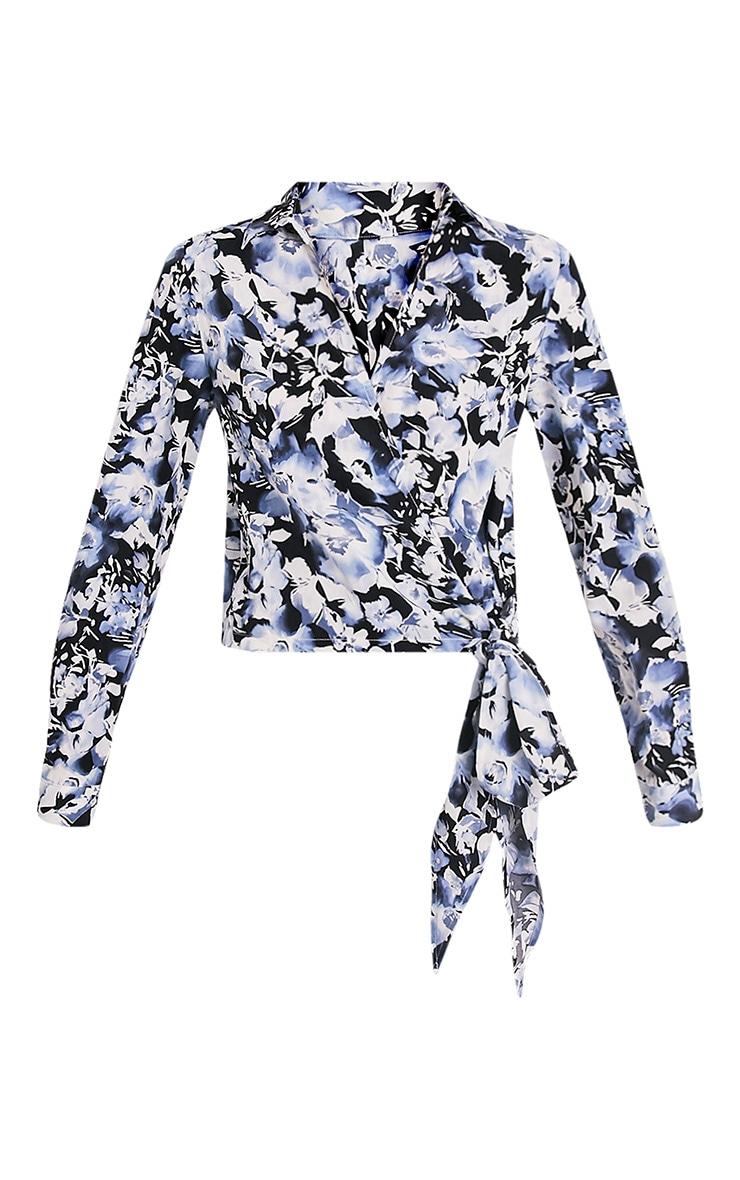 Avalyn chemisier cache-cœur bleu à nœud sur le devant et imprimés floraux 3