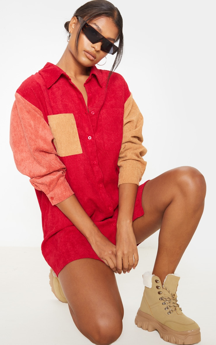 Red Colour Block Cord Pocket Front Oversized Shirt Dress 1