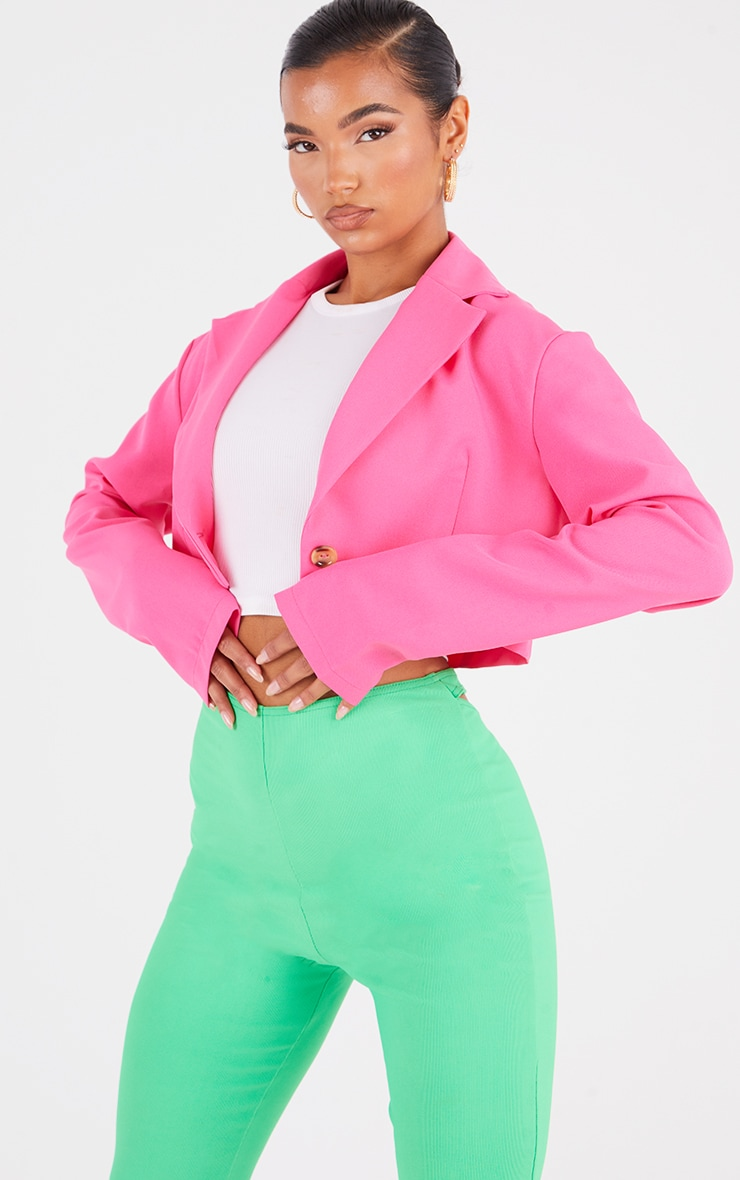 Hot Pink Woven Cropped Blazer 3