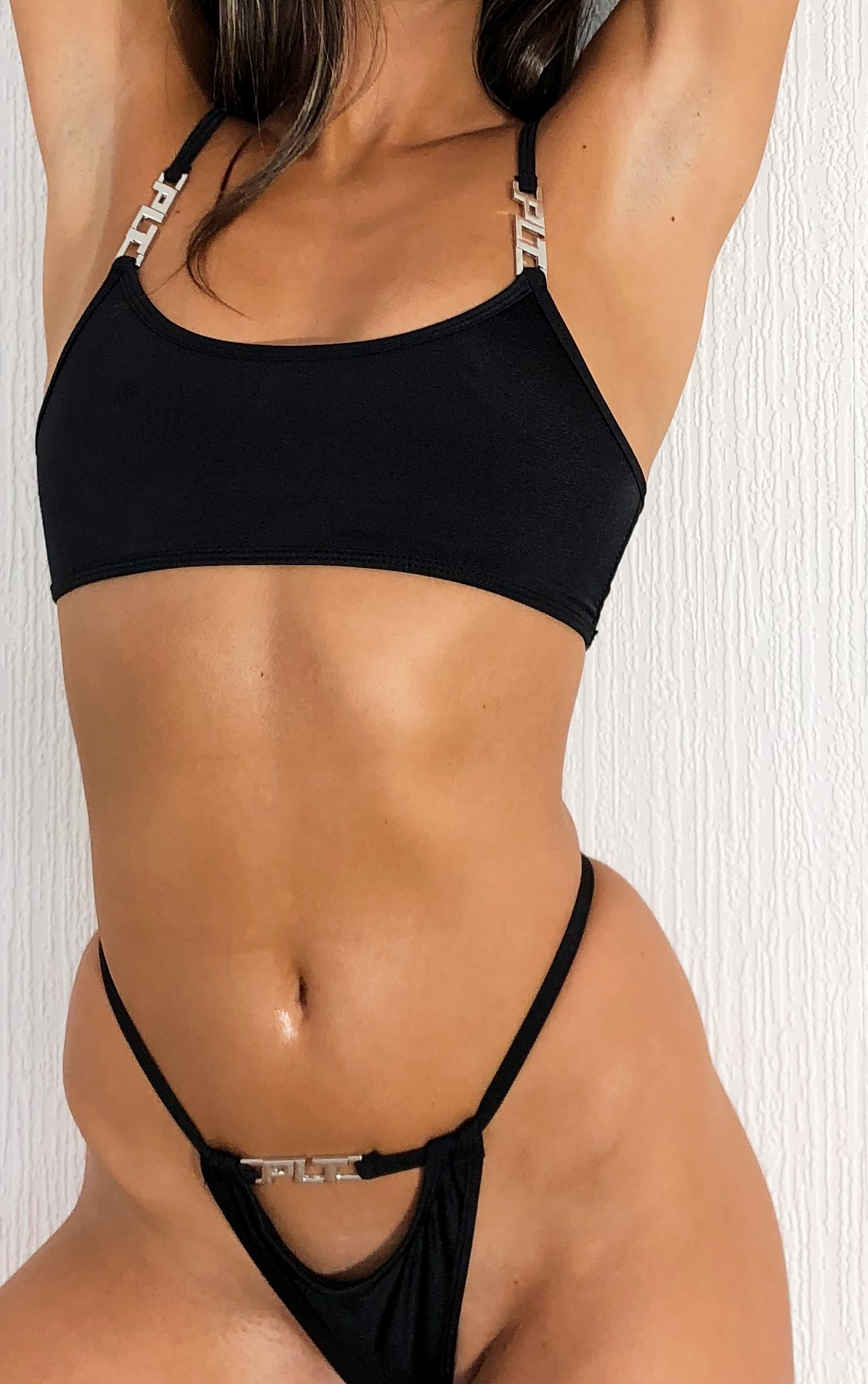 PRETTYLITTLETHING Black Cut Out Bikini Bottoms 4