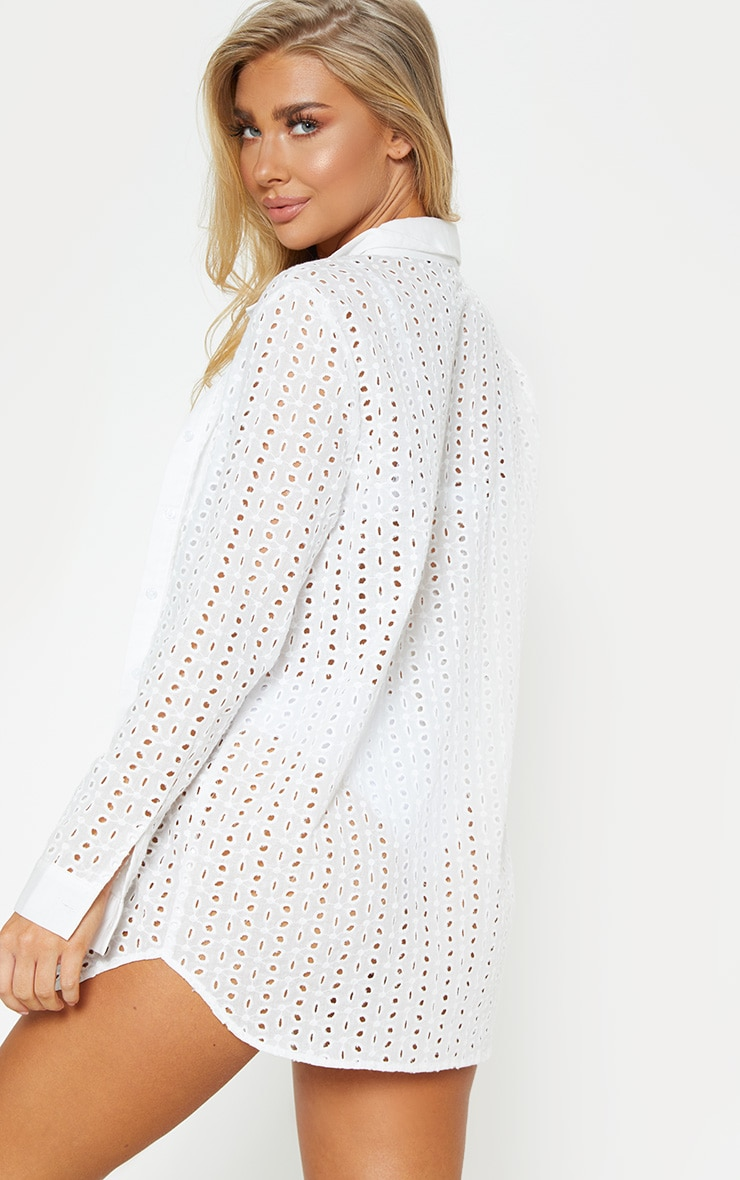 White Broderie Anglaise Beach Shirt 2