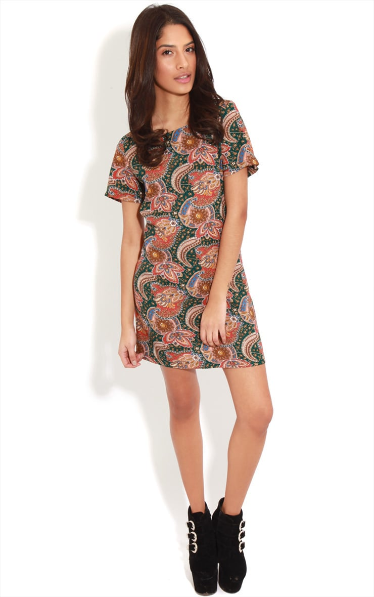 Nila Green Paisley Shift Dress 3
