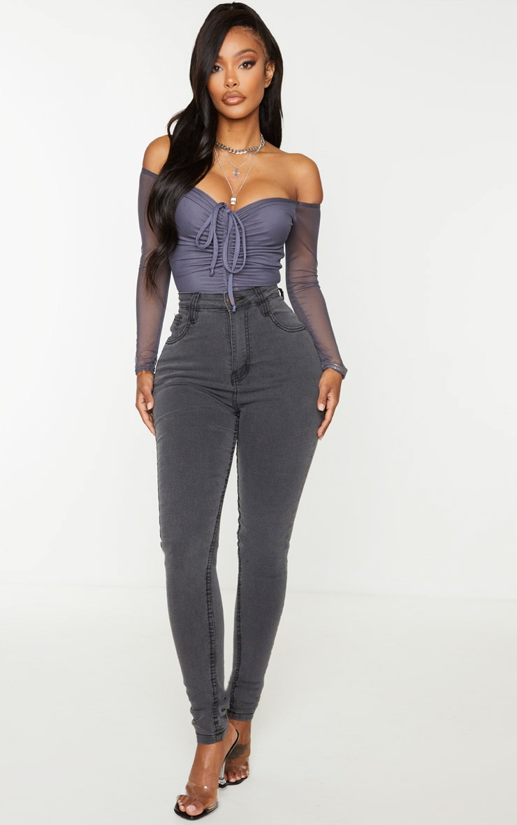 Shape Charcoal Mesh Long Sleeve Ruched Bodysuit 4