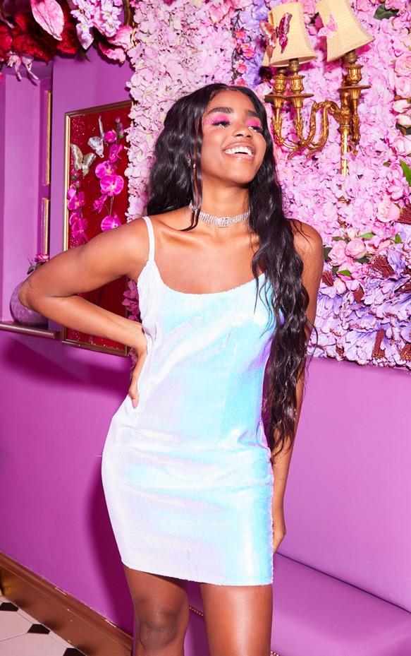 White Strappy Iridescence Sequin Bodycon Dress 1