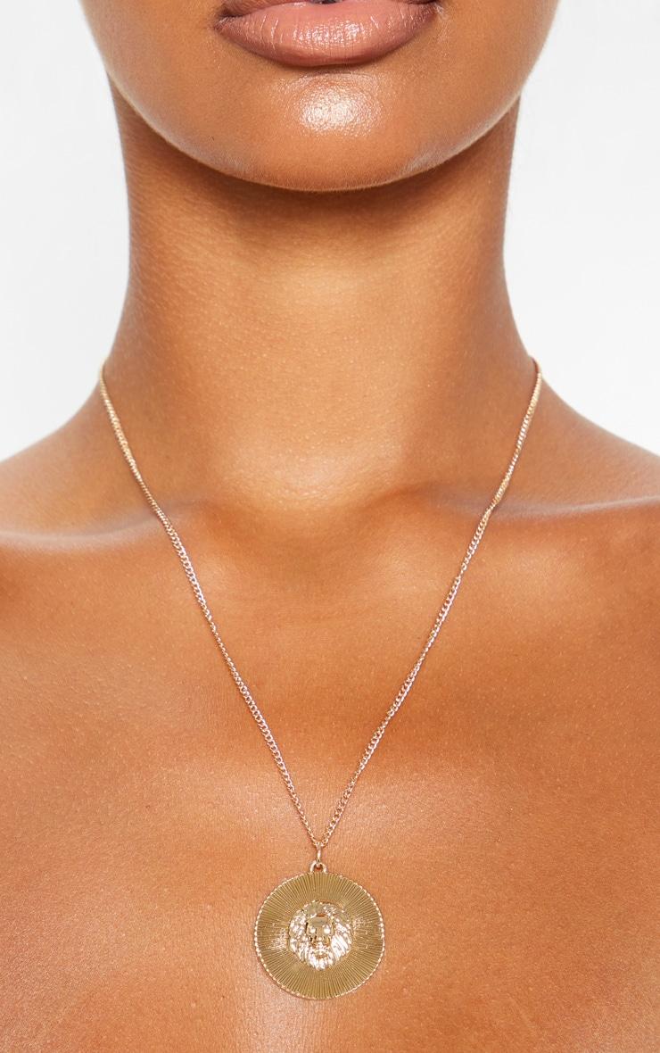 Gold Lion Symbol Disc Necklace 2