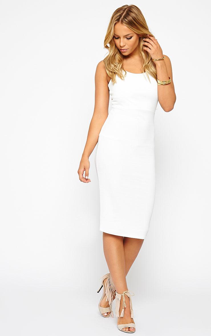 Tonia White Lace Back Detail Midi Dress 3