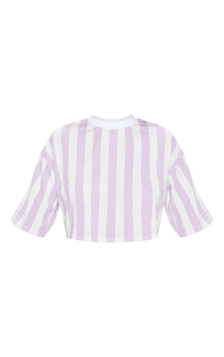 Lilac Stripe Crop T Shirt 3