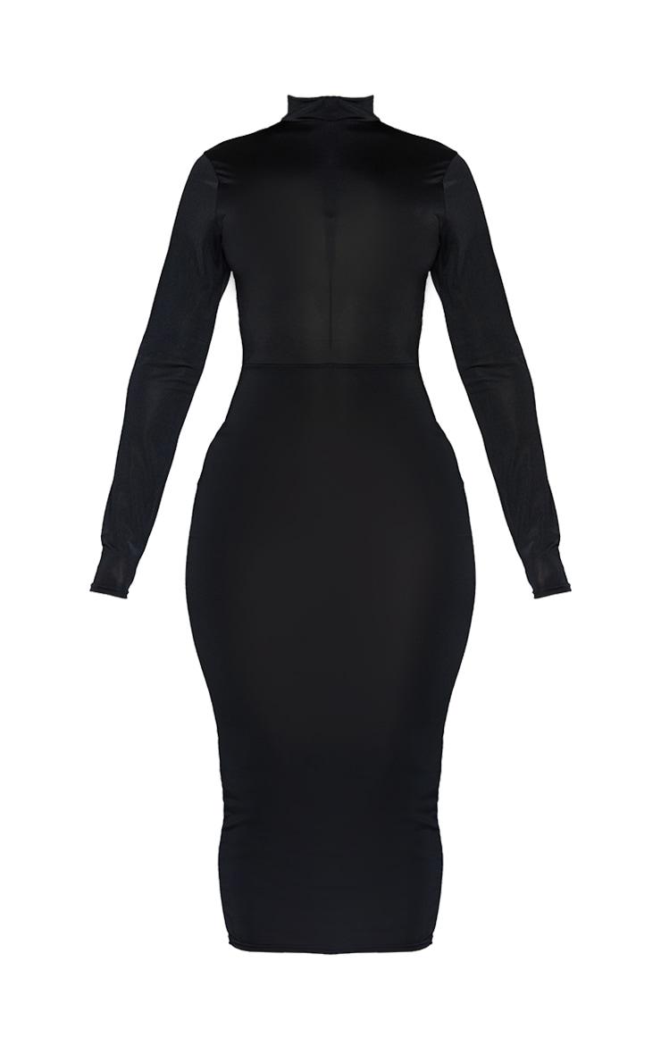 Shape Black Disco Zip Front Midi Dress 5
