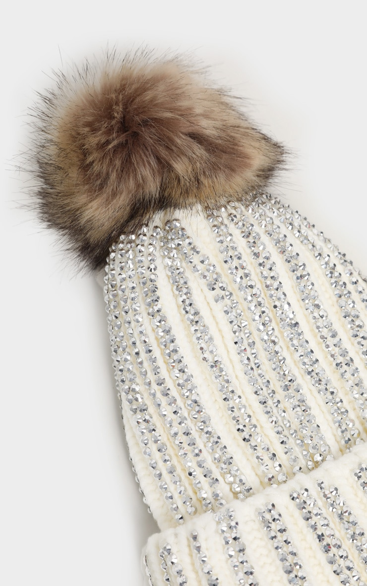 Cream All Over Diamante Beanie Hat 3