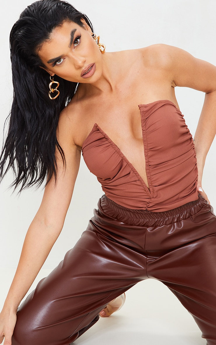 Chocolate Woven Ruched V Wire Bandeau Bodysuit 4