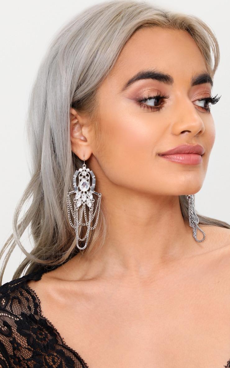 Silver Jewel Draped Chain Drop Earrings 1