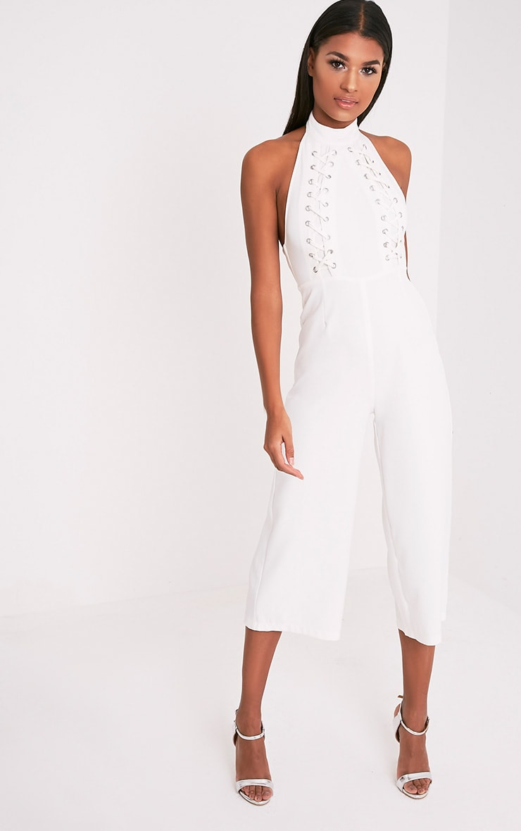 Stephanie White Lace up Cullote Jumpsuit 1