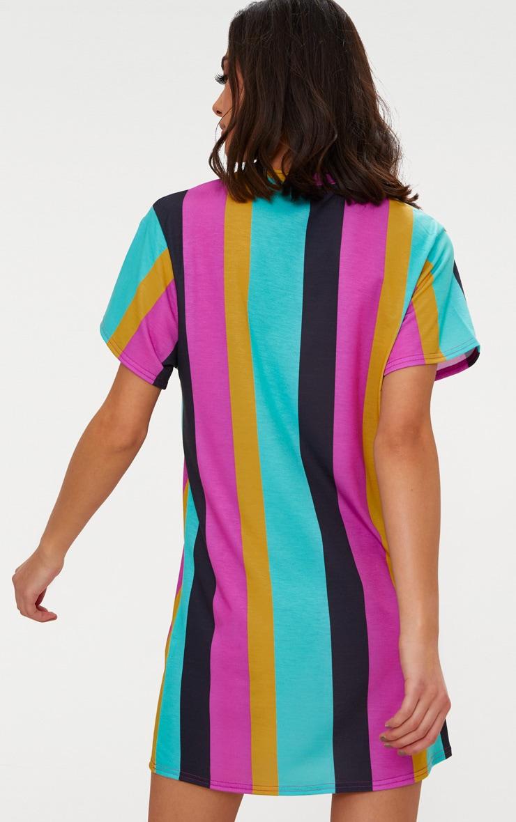 Pink Stripe T Shirt Dress 2