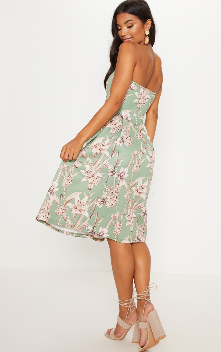 Sage Green Floral Print Bandeau Midi Skater Dress 2