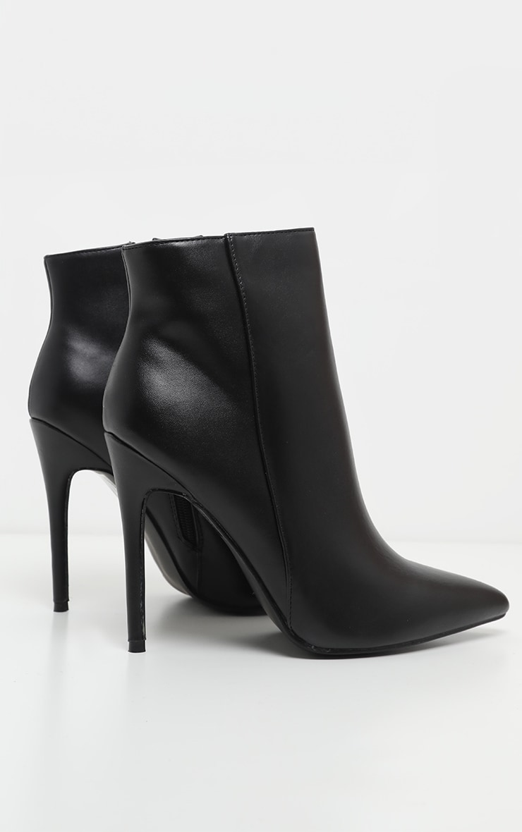 Black PU Point Toe Ankle Boot 3