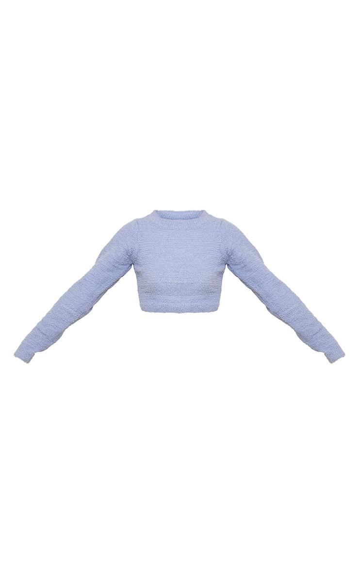 Blue Steel Chenille Long Sleeve Crop Sweater 5