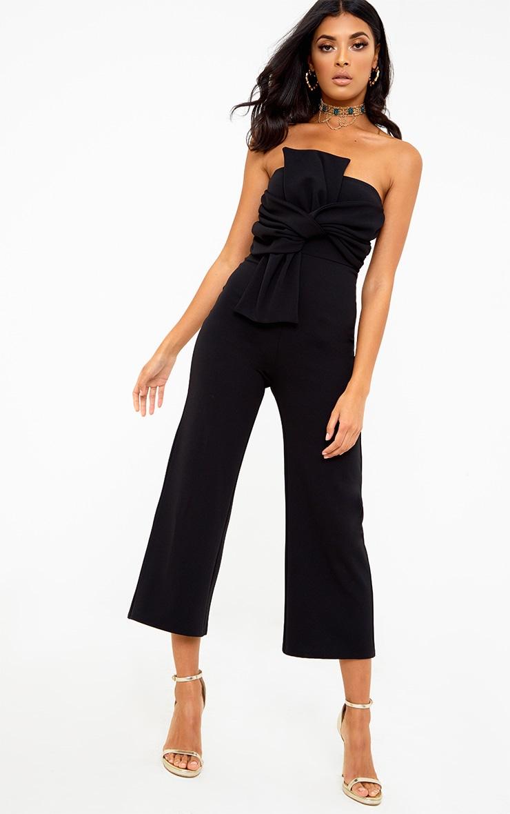 Black Bow Bandeau Culotte Jumpsuit 1