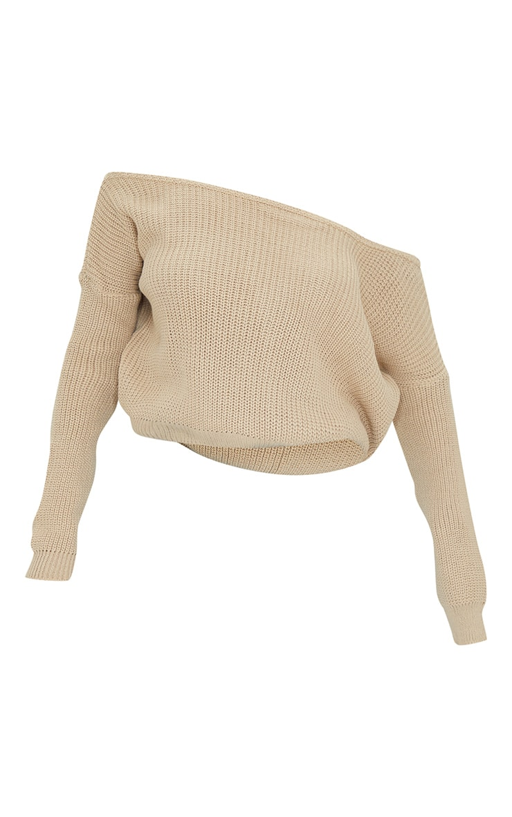 Stone Off The Shoulder Knitted Jumper 5