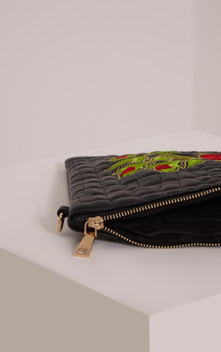 Ilana Black Floral Embroidery Clutch Bag 3