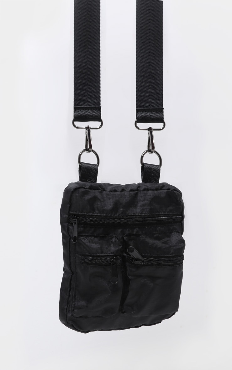Black PU Multi Zip Front Bag 4