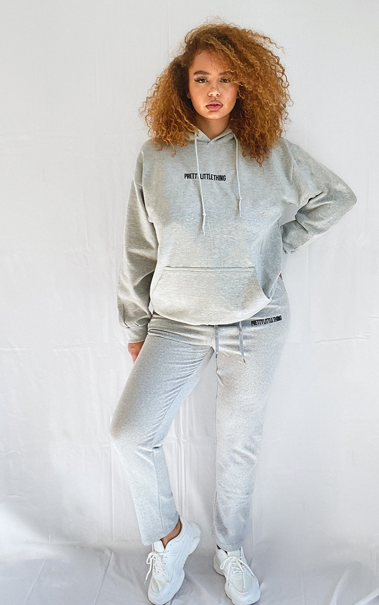 PRETTYLITTLETHING Plus Grey Embroidered Hoodie 3