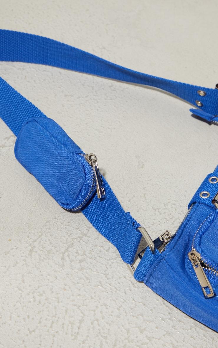 Electric Blue Multi Pocket And Zip Shoulder Bag 3