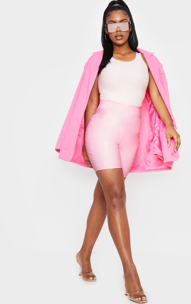 Baby Pink Faux Leather Cycle Shorts 1