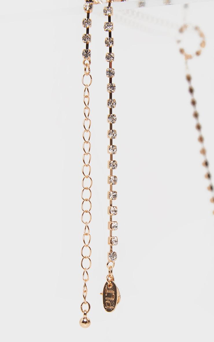 Gold Diamante Long Lariat Necklace 4