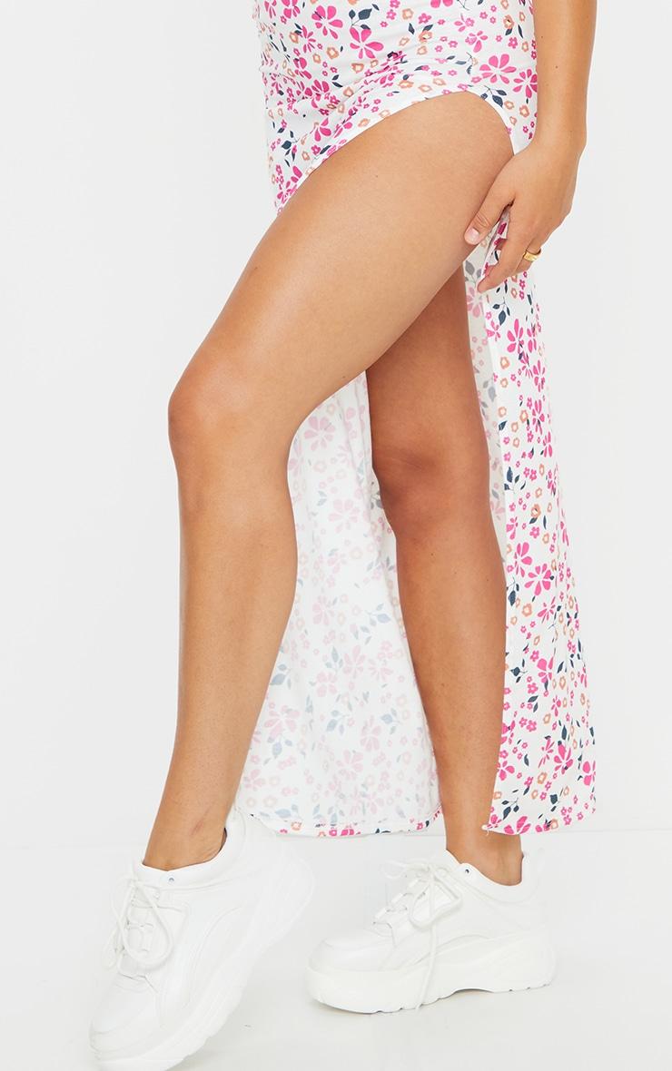 Pink Ditsy Floral Tie Shoulder Scoop Maxi Dress 4