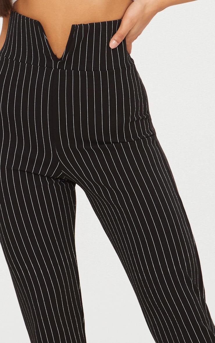 Black Pinstripe Cut Out Waist Skinny Pants  5