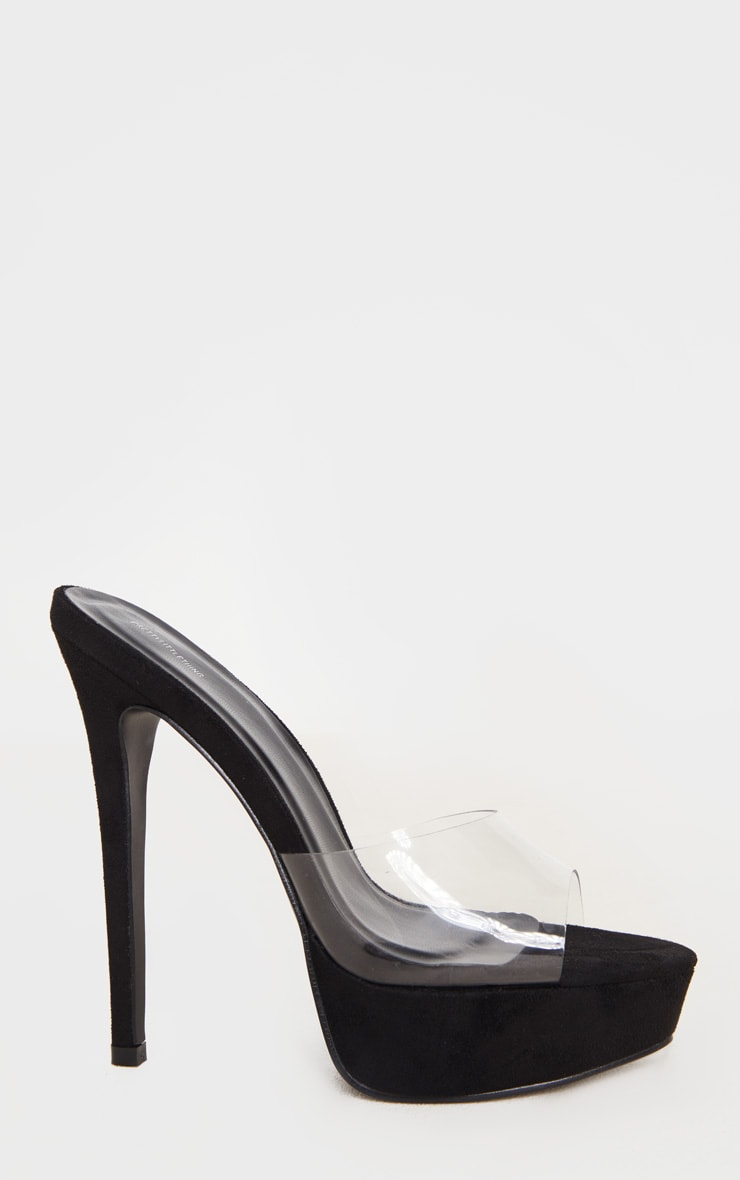 Black High Platform Clear Mule Sandals 3