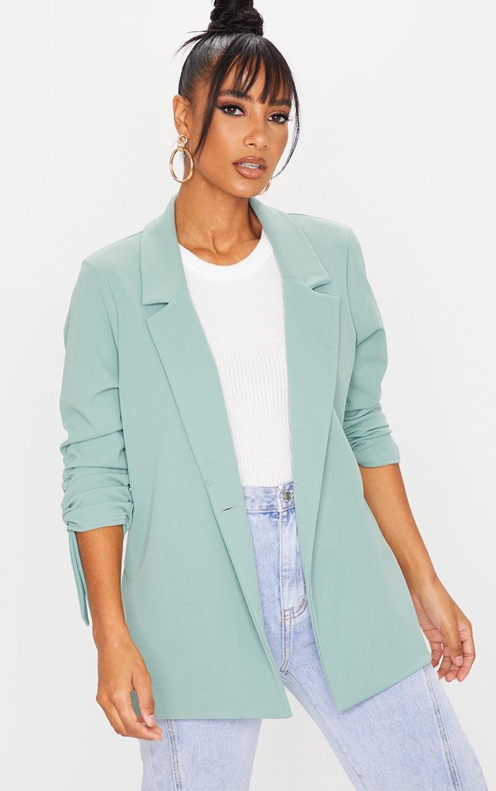 Sage Green Ruched Sleeve Blazer 1