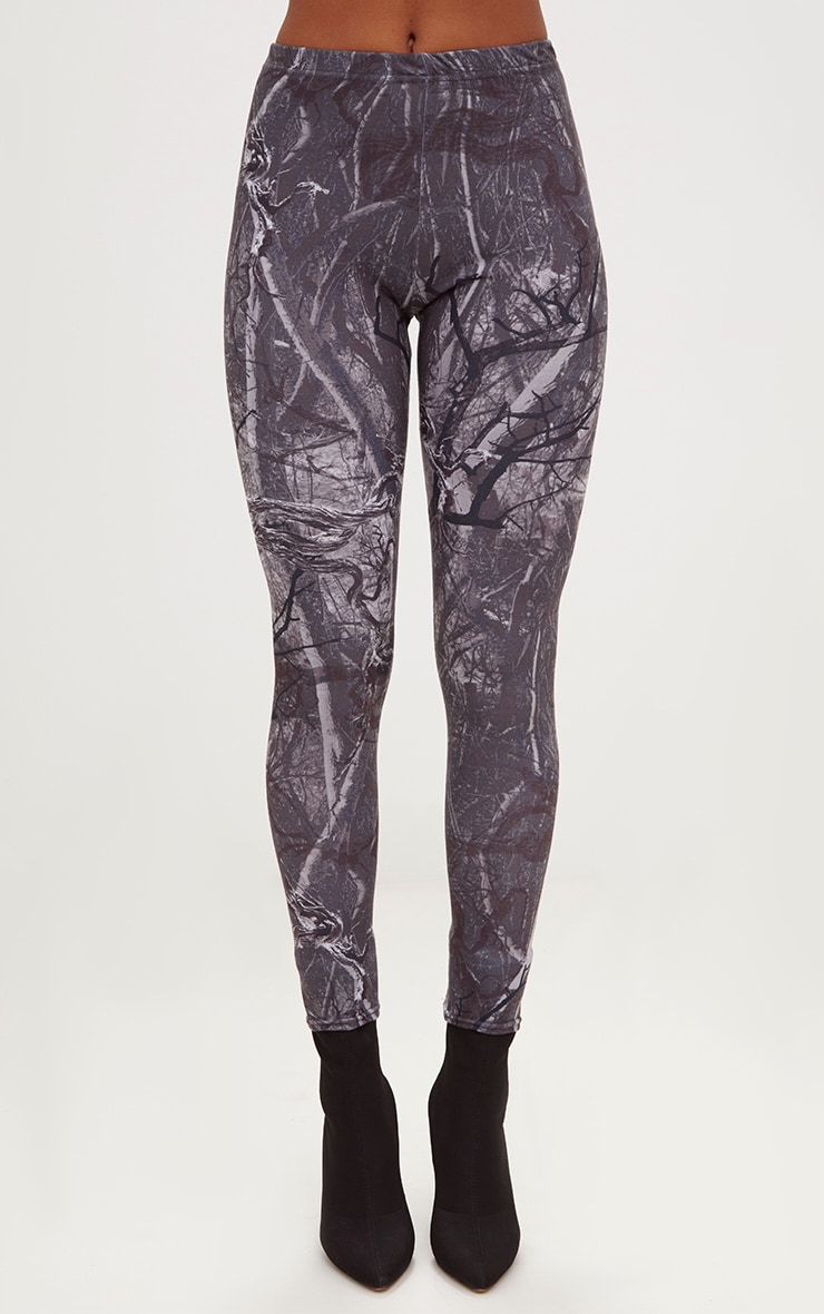 Grey Forest Print Camo Leggings 2