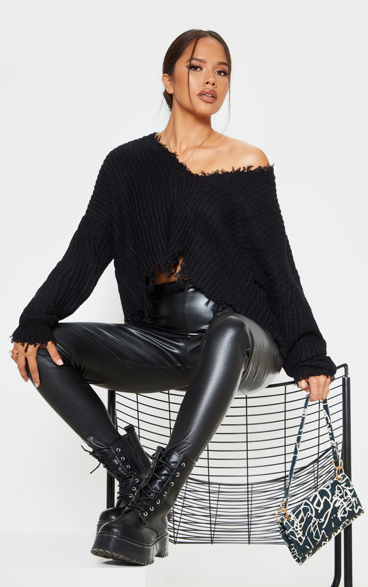 Black Fringe Hem Knitted Jumper 5