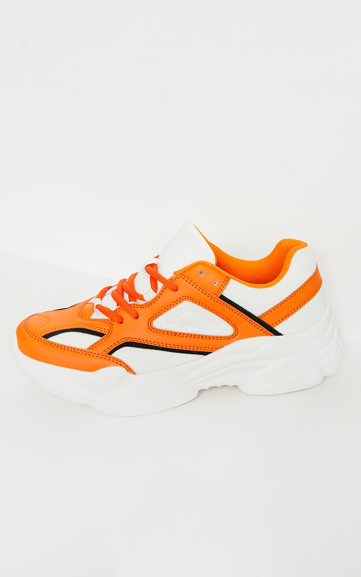 Orange Constant Colour Panels Arch Sole Chunky Trainers 4