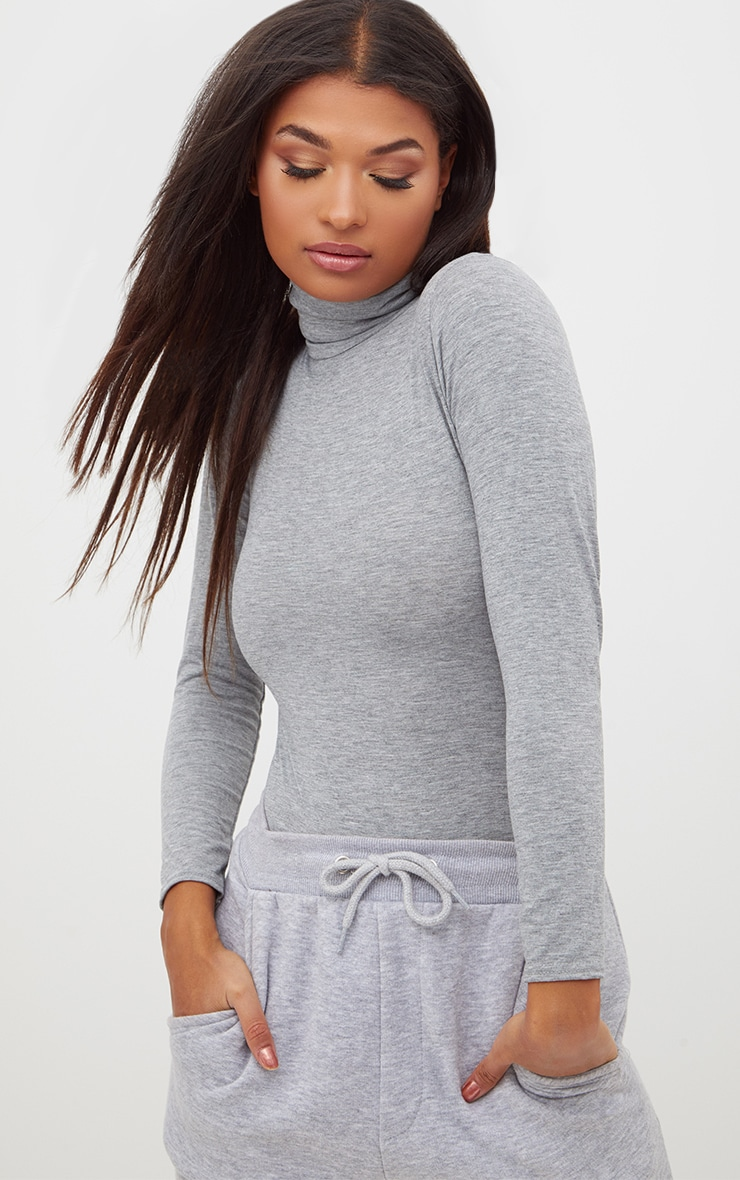 Basic Grey Roll Neck Long Sleeve Bodysuit 2