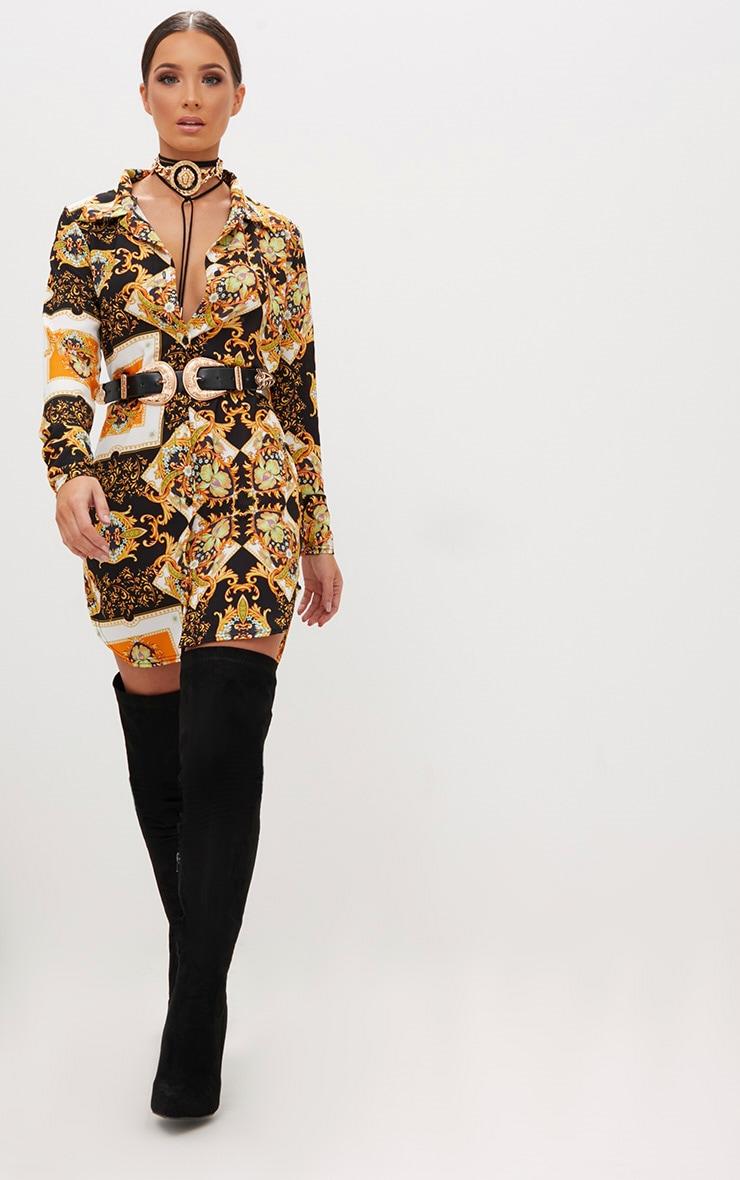 Black Scarf Print Shirt Dress 3
