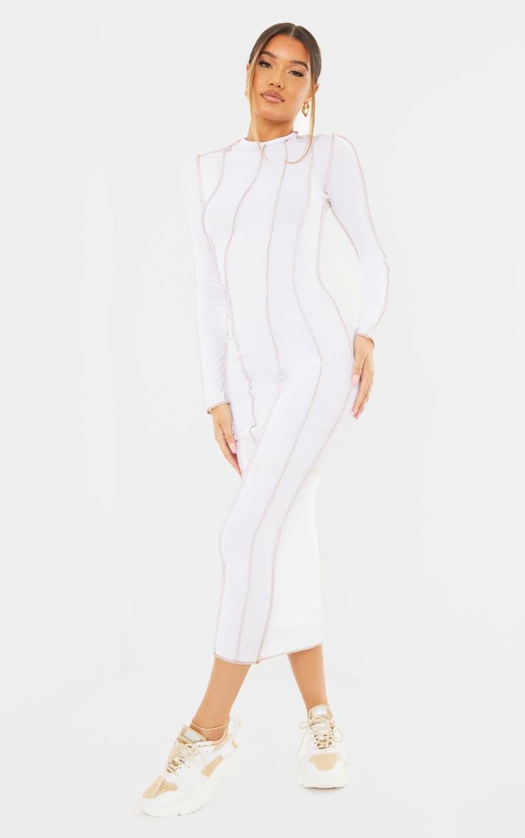 White Rib Asymmetric Seam Detail Long Sleeve Midi Dress 3