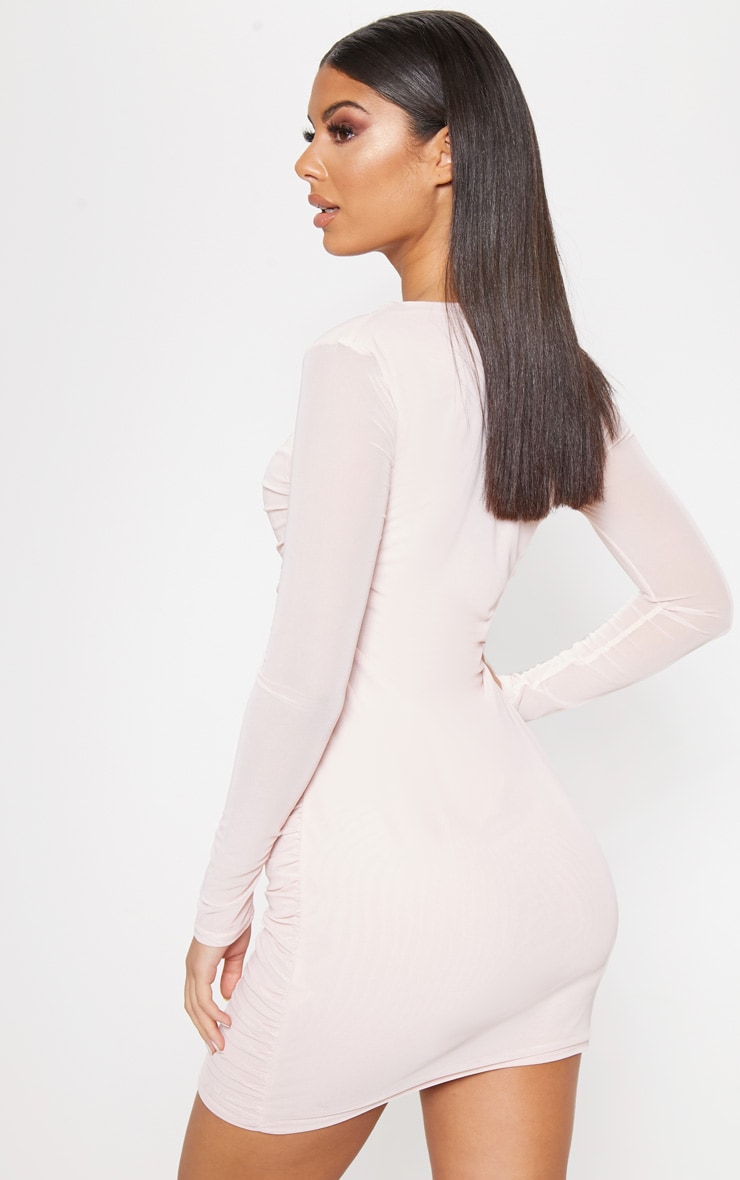 Nude Mesh Long Sleeve Ruched Bodycon Dress 2
